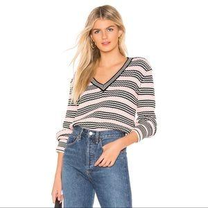 Tularosa Striped Knit V-neck Sweater